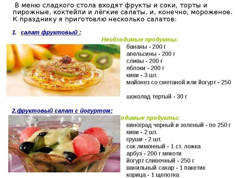 Меню фруктового салата с