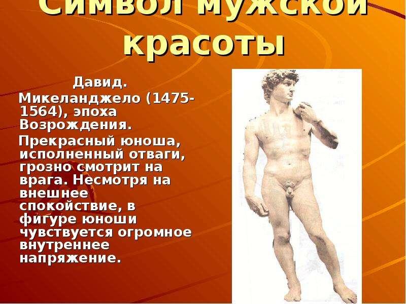 Символ мужской красоты Давид. Микеланджело (1475-1564), эпоха Возрождения. Прекрасный юноша, исполне