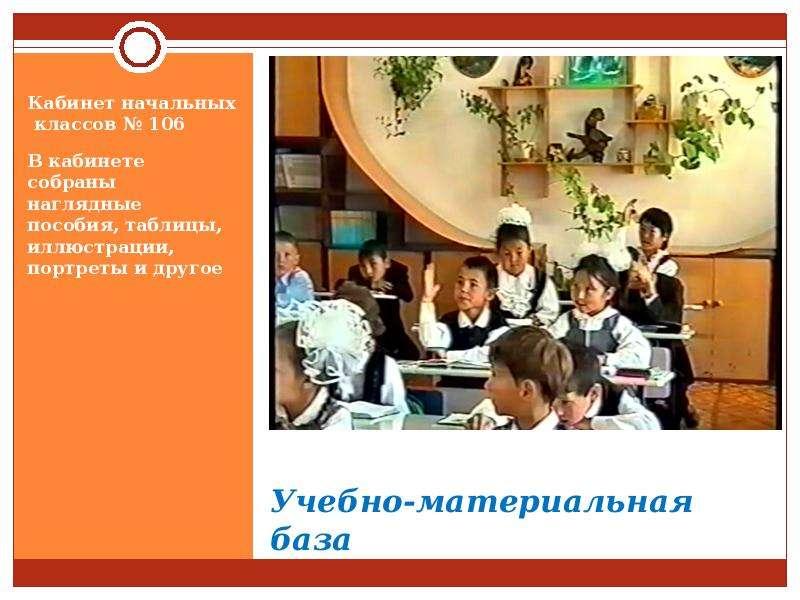 Учебно-материальная база Кабинет начальных классов № 106 В кабинете собраны наглядные пособия, табли