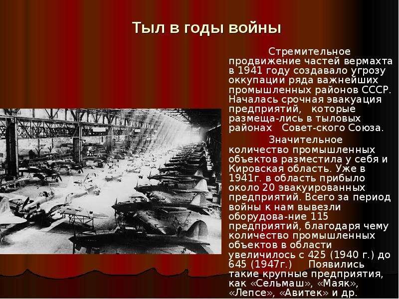 Тыл в годы войны Стремительное продвижение частей вермахта в 1941 году создавало угрозу оккупации ря
