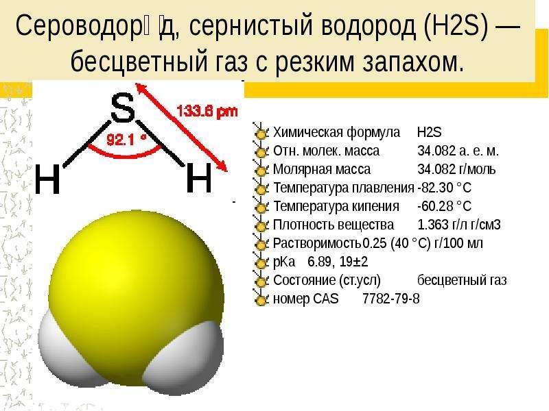 Сероводоро́д, сернистый водород (H2S) — бесцветный газ с резким запахом. Химическая формула H2S Отн.