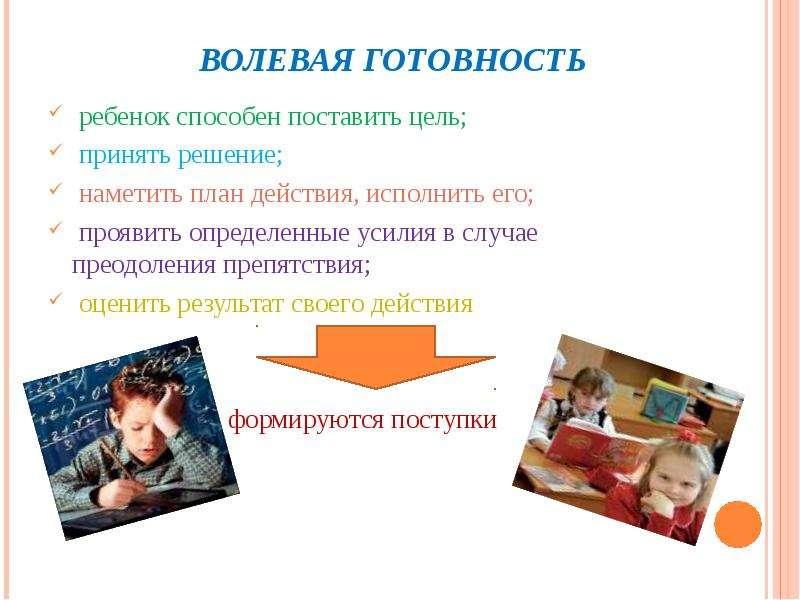 ВОЛЕВАЯ ГОТОВНОСТЬ ребенок способен поставить цель; принять решение; наметить план действия, исполни