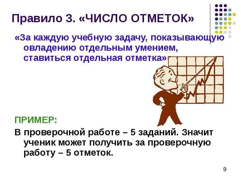 «За каждую учебную задачу, показывающую овладению отдельным умением, ставиться отдельная отметка» «З