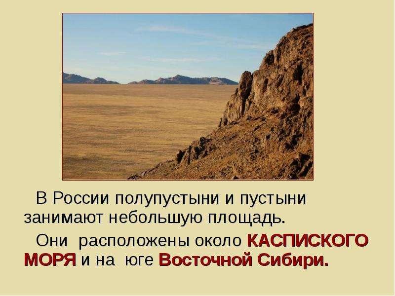 В России полупустыни и пустыни занимают небольшую площадь. Они расположены около КАСПИСКОГО МОРЯ и н