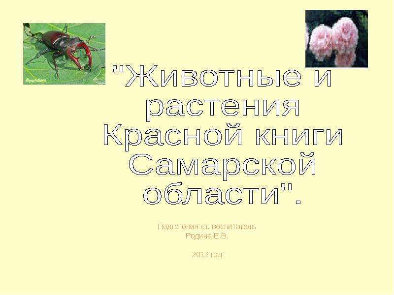 Презентация Животные и растения Красной книги Самарской области