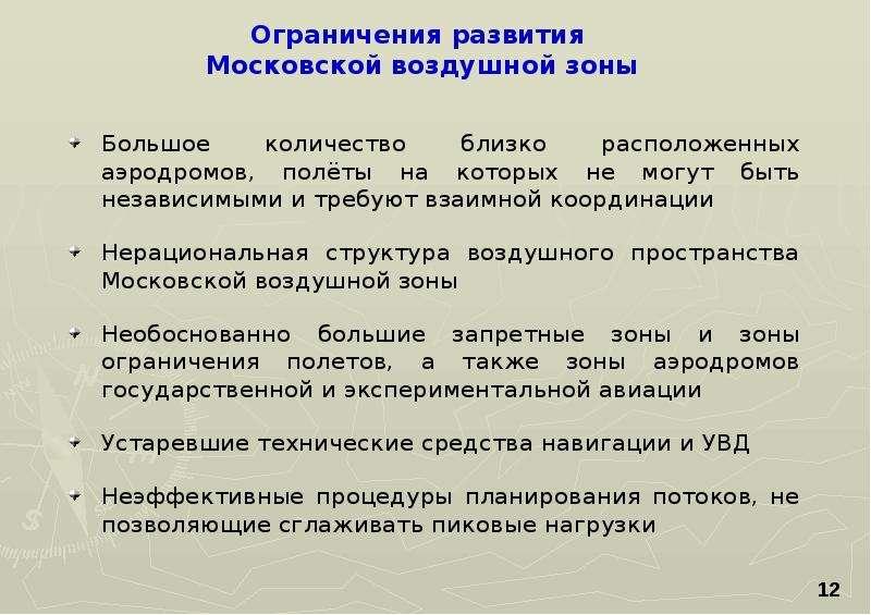 Ограничения развития Московской воздушной зоны