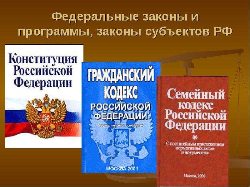 Федеральные законы и программы, законы субъектов РФ