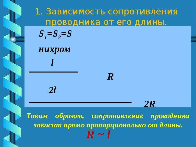 1. Зависимость сопротивления проводника от его длины. S1=S2=S нихром l R 2l 2R Таким образом, сопрот
