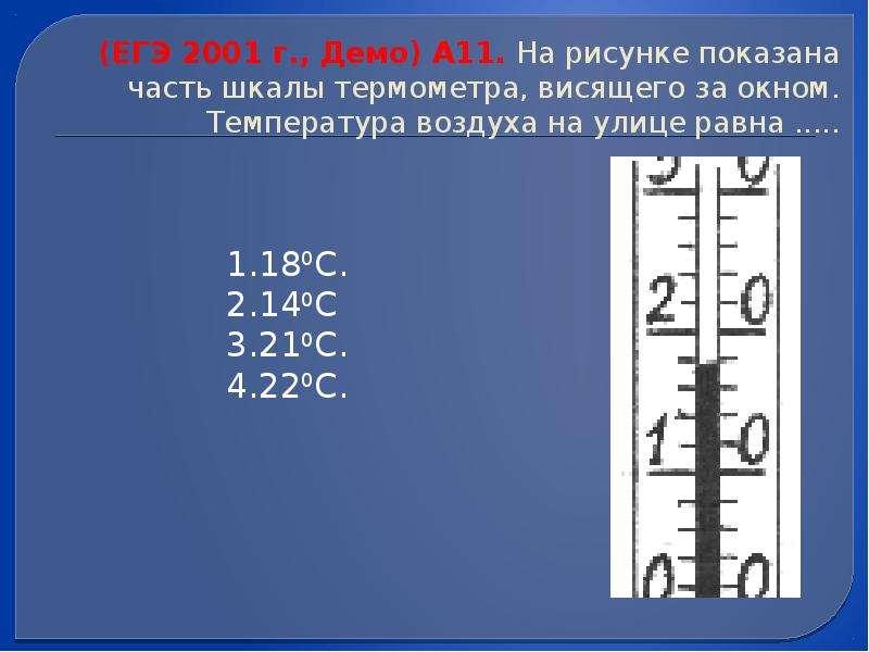 (ЕГЭ 2001 г. , Демо) А11. На рисунке показана часть шкалы термометра, висящего за окном. Температура