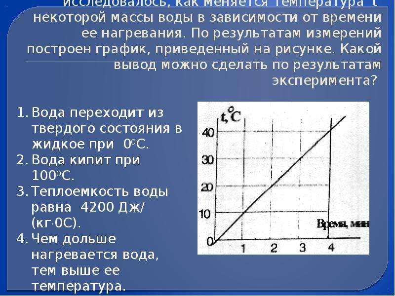 (ЕГЭ 2001 г. , Демо) А13. Экспериментально исследовалось, как меняется температура t некоторой массы