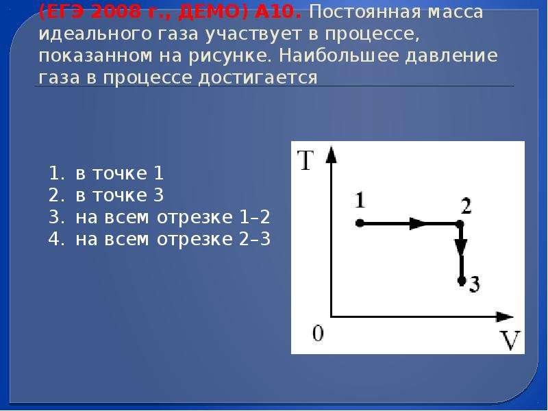 (ЕГЭ 2008 г. , ДЕМО) А10. Постоянная масса идеального газа участвует в процессе, показанном на рисун