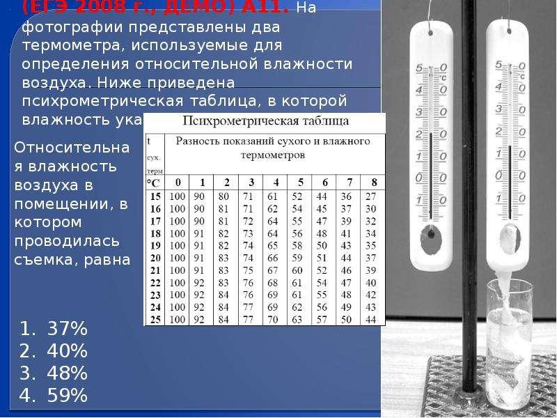 (ЕГЭ 2008 г. , ДЕМО) А11. На фотографии представлены два термометра, используемые для определения от