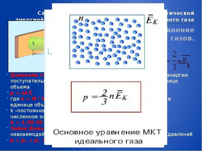 Связь между давлением и средней кинетической энергией теплового движения молекул идеального газа Осн