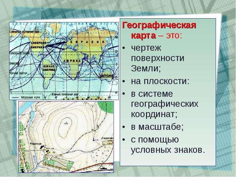 Географическая карта – это: Географическая карта – это: чертеж поверхности Земли; на плоскости: в си