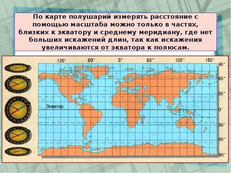 По карте полушарий измерять расстояние с помощью масштаба можно только в частях, близких к экватору