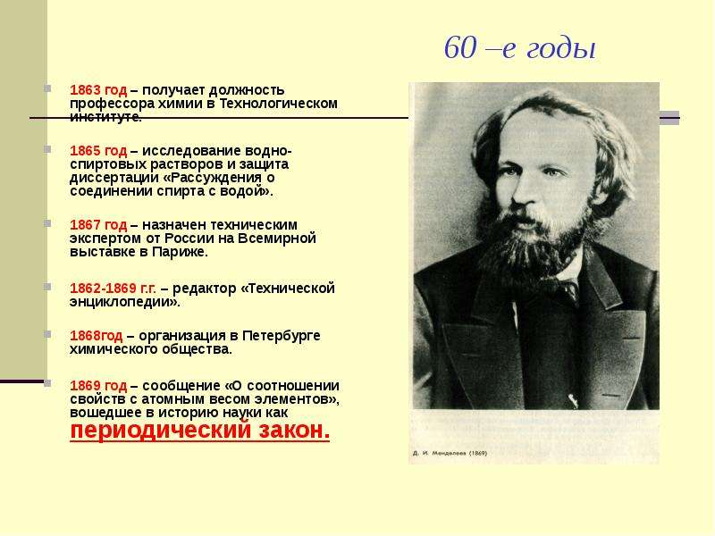 60 –е годы 1863 год – получает должность профессора химии в Технологическом институте. 1865 год – ис