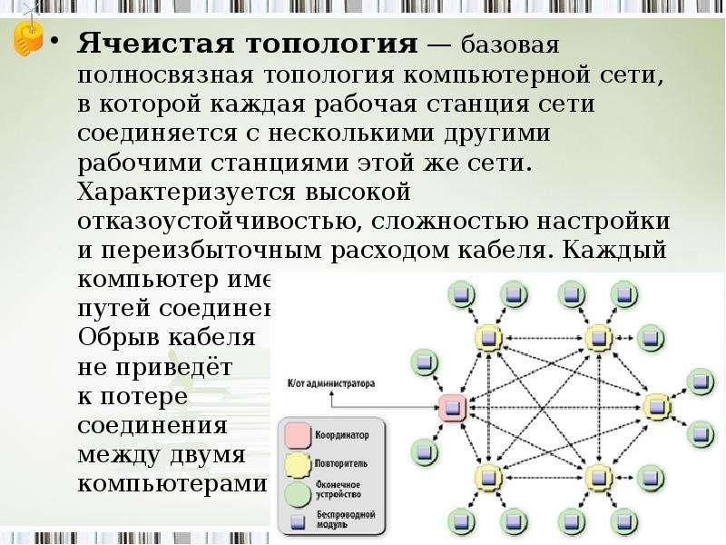 Ячеистая топология — базовая полносвязная топология компьютерной сети, в которой каждая рабочая стан