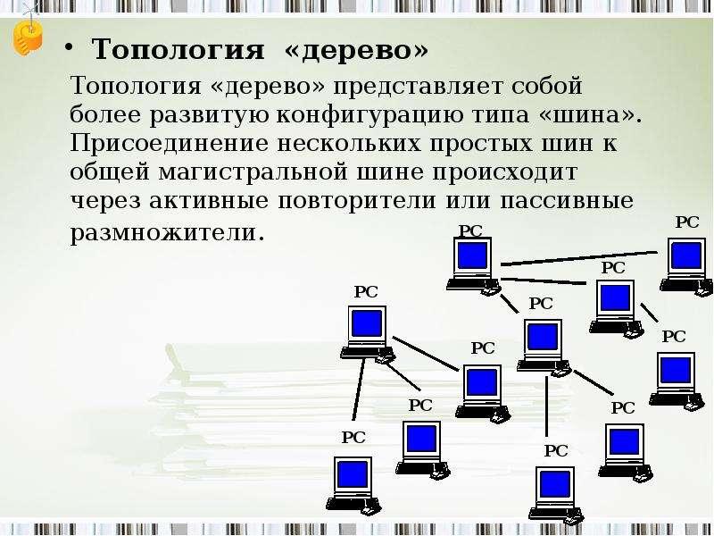 Топология «дерево» Топология «дерево» Топология «дерево» представляет собой более развитую конфигура