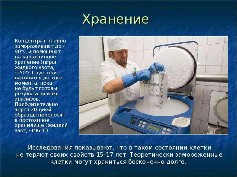 Хранение Концентрат плавно замораживают до -90°С и помещают на карантинное хранение (пары жидкого аз