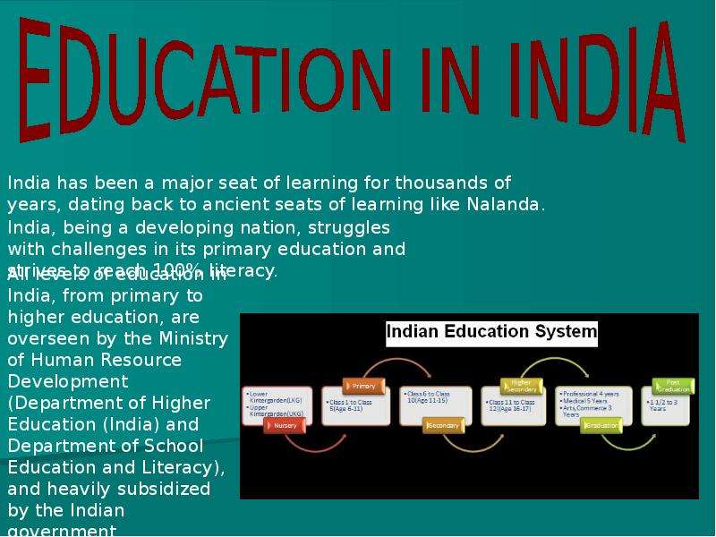 education system in india India's tertiary education system is one of the largest in the world with over ten million students nevertheless, only 1 out of 10 young people has access to higher education, and this is predominantly among the well-off.
