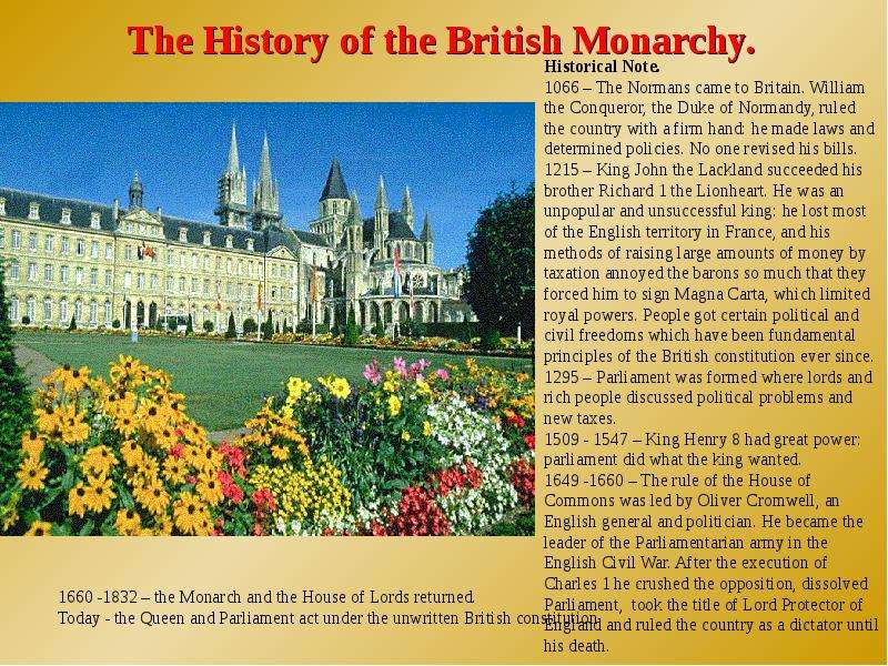 a history of government in the canadian monarchy Monarchy is a form of government in which executive power resides in a single individual, who typically rules for life monarchies are often hereditary, meaning that one family hands down the office from one generation to the next.