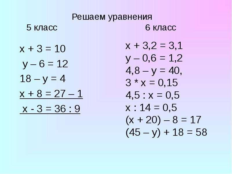 Решаем уравнения 5 класс 6 класс x + 3 = 10 y – 6 = 12 18 – y = 4 х + 8 = 27 – 1 х - 3 = 36 : 9