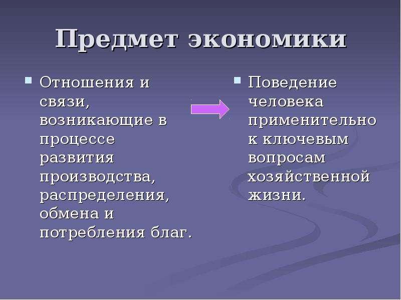Предмет экономики Отношения и связи, возникающие в процессе развития производства, распределения, об