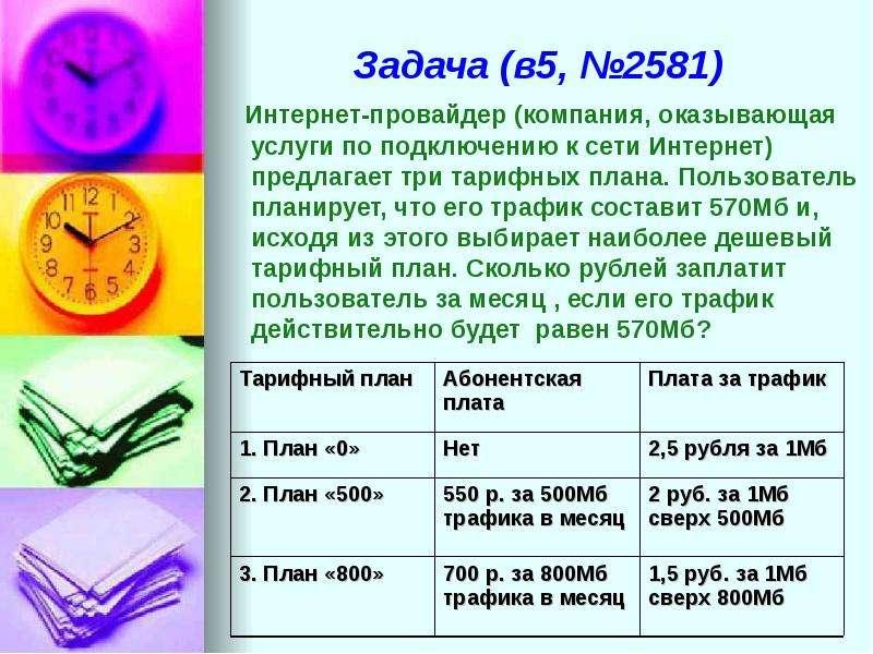 Задача (в5, №2581) Интернет-провайдер (компания, оказывающая услуги по подключению к сети Интернет)