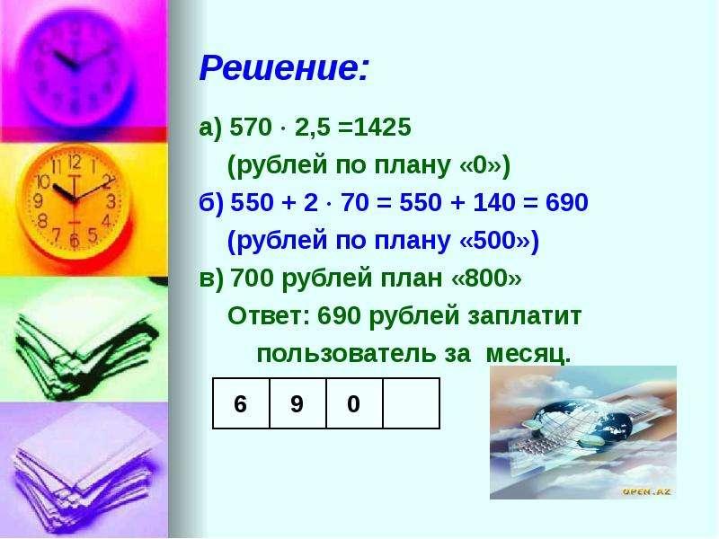 Решение: а) 570  2,5 =1425 (рублей по плану «0») б) 550 + 2  70 = 550 + 140 = 690 (рублей по плану