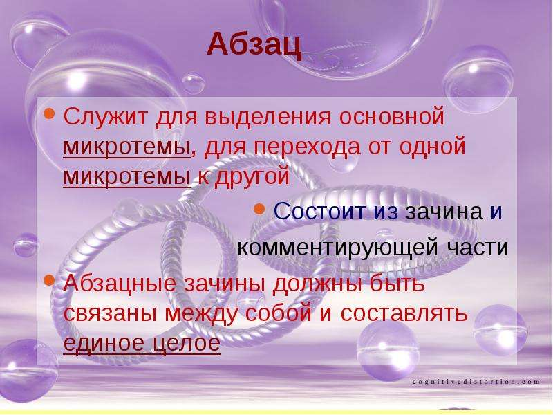 Абзац Служит для выделения основной микротемы, для перехода от одной микротемы к другой Состоит из з