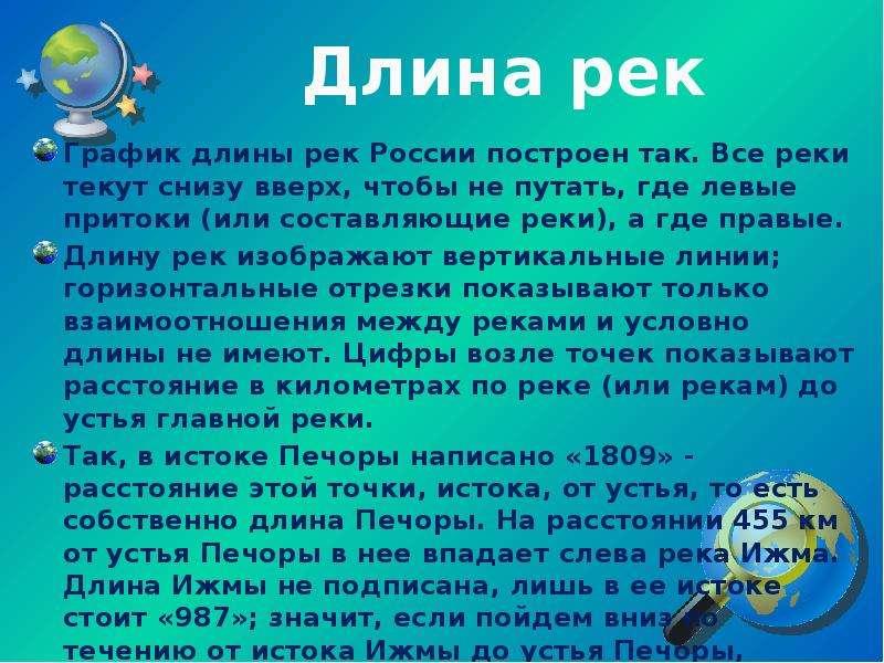 Длина рек График длины рек России построен так. Все реки текут снизу вверх, чтобы не путать, где лев