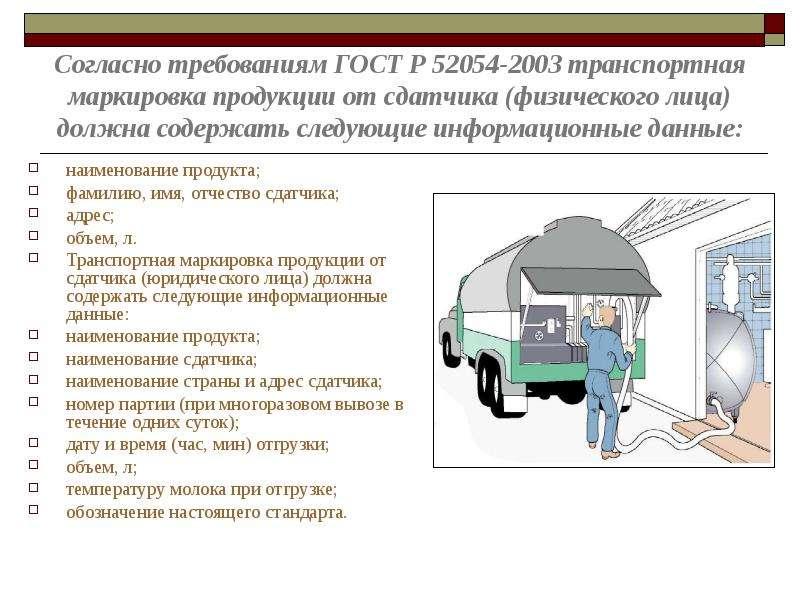Согласно требованиям ГОСТ Р 52054-2003 транспортная маркировка продукции от сдатчика (физического ли
