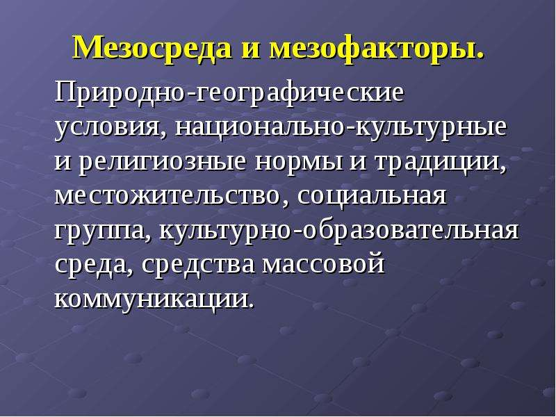 Мезосреда и мезофакторы. Мезосреда и мезофакторы. Природно-географические условия, национально-культ