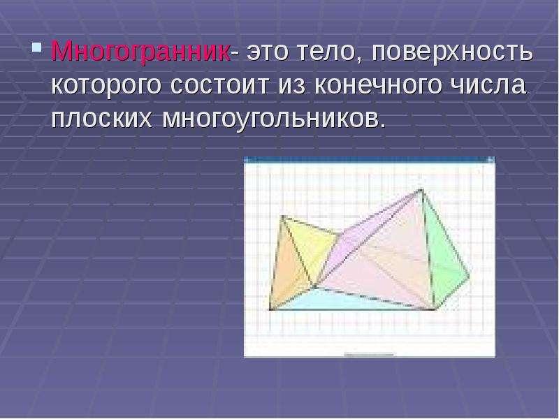 Многогранник- это тело, поверхность которого состоит из конечного числа плоских многоугольников. Мно