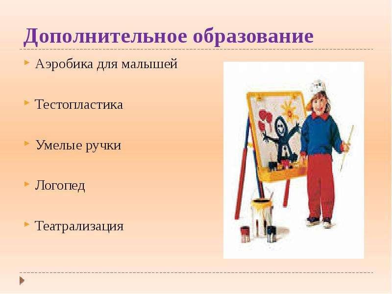 Дополнительное образование Аэробика для малышей Тестопластика Умелые ручки Логопед Театрализация