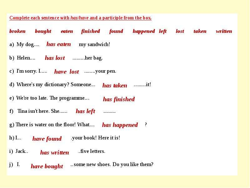 Complete each sentence with has/have and a participle from the box