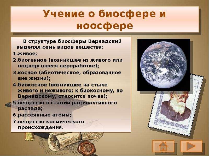 Учение о биосфере и ноосфере В структуре биосферы Вернадский выделял семь видов вещества: живое; био