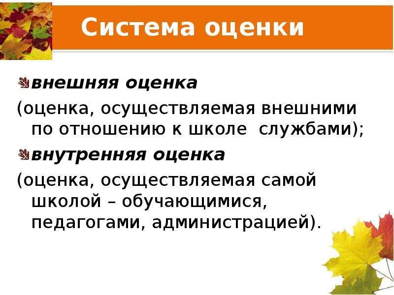 Система оценки внешняя оценка (оценка, осуществляемая внешними по отношению к школе службами); внутр