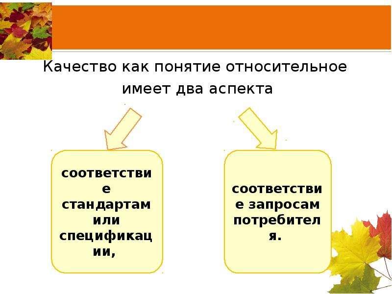 Качество как понятие относительное имеет два аспекта