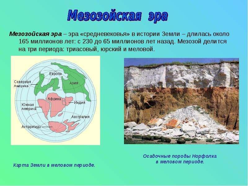 Мезозойская эра – эра «средневековья» в истории Земли – длилась около 165 миллионов лет: с 230 до 65