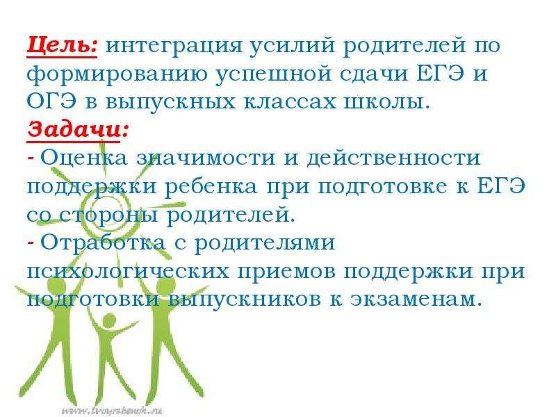 Цель: интеграция усилий родителей по формированию успешной сдачи ЕГЭ и ОГЭ в выпускных классах школы
