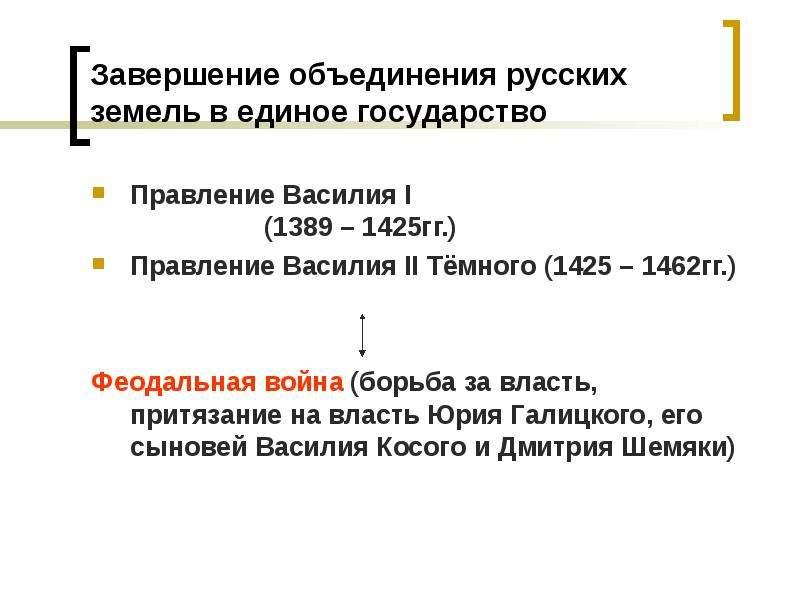 Завершение объединения русских земель в единое государство Правление Василия I (1389 – 1425гг. ) Пра