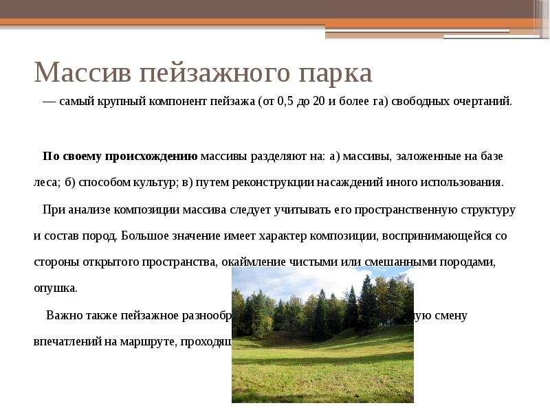 Массив пейзажного парка — самый крупный компонент пейзажа (от 0,5 до 20 и более га) свободных очерта
