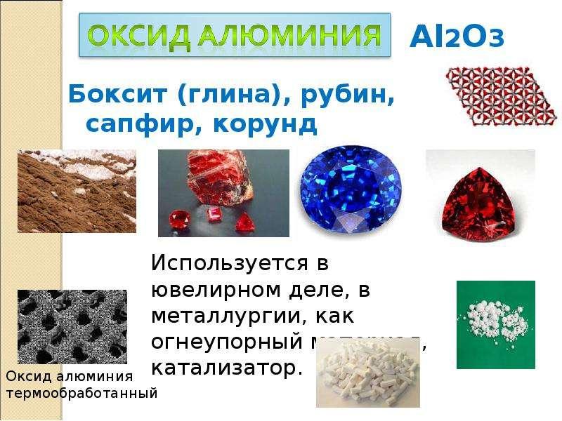 Боксит (глина), рубин, сапфир, корунд