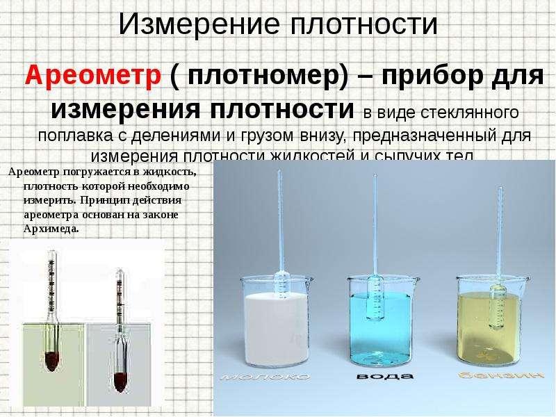 Ареометр ( плотномер) – прибор для измерения плотности в виде стеклянного поплавка с делениями и гру