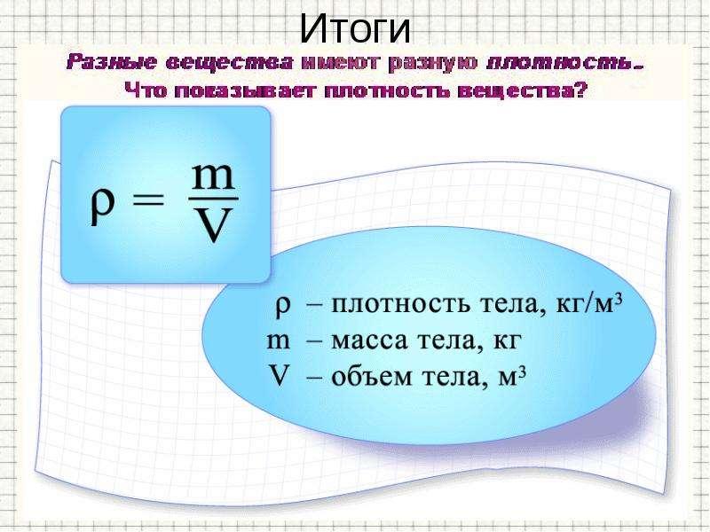 Масса Плотность вещества, слайд 15
