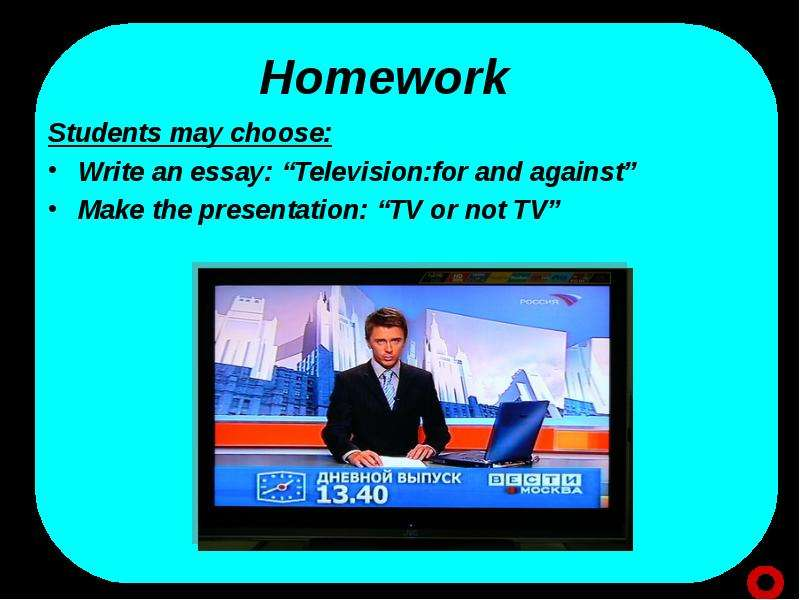 essays on tv Do you like watching tv it is all around us people spend a lot of time watching it there are three main reasons why tv is good: you can get information, you can get enjoyment, and you can learn.