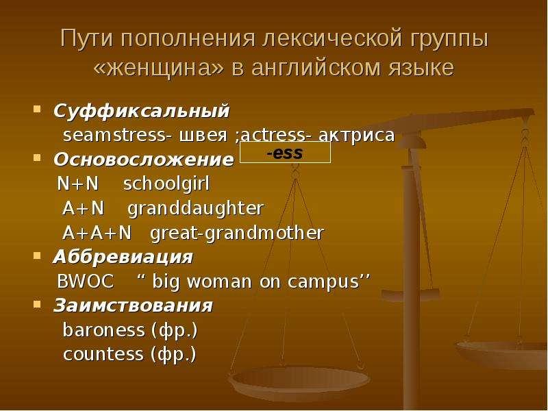 Пути пополнения лексической группы «женщина» в английском языке Суффиксальный seamstress- швея ;actr