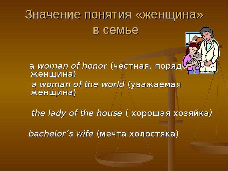 Значение понятия «женщина» в семье a woman of honor (честная, порядочная женщина) a woman of the wor