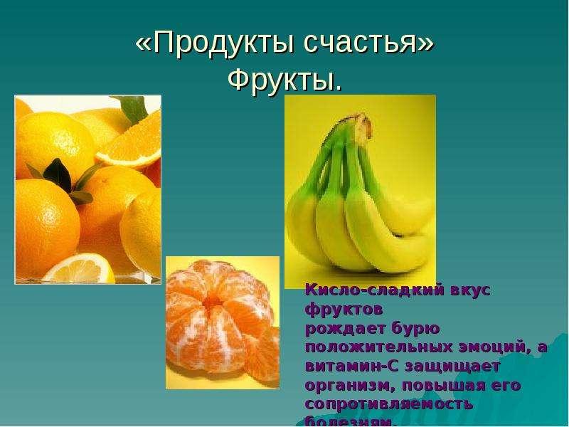 «Продукты счастья» Фрукты.